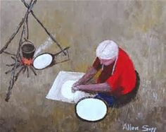 Nokum is Making Bannock is a painting created by Allen Sapp in Find out more at Mayberry Fine Art. Order Of Canada, Dreams And Visions, Canadian Artists, Pictures To Draw, Fine Art, Artwork, Facial, Folk, How To Make