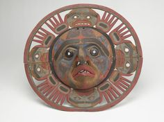 On Permanent Exhibit in AMNH HallHall of Northwest Coast Indians MASK, SUN NORTH AMERICAN ETHNOGRAPHIC COLLECTION Catalog No: 16 / 1507 Field No: 393 Culture: BELLA COOLA Locale: BC Country: CANADA Material: WOOD, PIGMENT, PLANT FIBER, METAL Dimensions: D:63 [in CM] Subject: SUN Acquisition Year: 1897 Donor: HUNT, GEORGE & BOAS, FRANZ, PROF. Collector: HUNT AND BOAS? Keywords: MASK