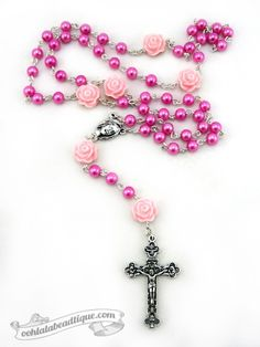 Guedete Rose 5 decade fuchsia pink rosary by Ooh-la-la Beadtique $32.00 #rosary…