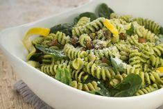 Fusilli with Pistachio-Arugula Pesto from Kids Cook Monday. The whole family can help with this meal.