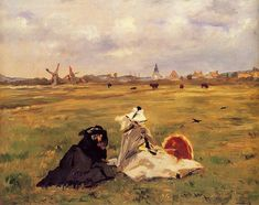 Edouard Manet - The Swallows [1873] | Here man and landscape are uniquely fused. The artist's mother in black and Madame Manet in white have taken their ease on a field behind the dunes, with their billowing skirts and bonnets tied on with veils. The sun has just been shining, but now the sky is overcast; the artist's wife has lowered the still opened parasol to her lap, and low flying swallows herald the change in weather. All this has nothing anecdotal about it, but