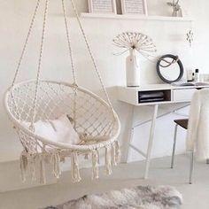 Room Design Bedroom, Bedroom Chair, Room Ideas Bedroom, Girls Bedroom, Swing Chair For Bedroom, Hammock In Room, Unique Teen Bedrooms, Rope Hammock, Rope Swing