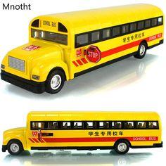 School Bus Alloy Diecast Car Model Sound&Light Toys Children's Gifts Orange Mini 1:32 Scale Pull Back Light Car Toy Model