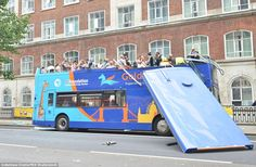 Four people including a newlywed bride have been taken to hospital after the roof of a tou...