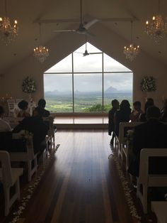 Weddings at Tiffany's Chapel. This is a photo I took with my iPhone. This is the view your guests see as they enter the chapel and the backdrop for your ceremony and reception. Spectacular view.  Suzanne Riley Marriage Celebrant Sunshine Coast www.suzanneriley.com.au
