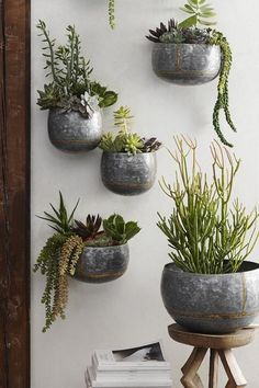 Curvy wall planters from our Braza collection are made from heavy galvanized iron sheet and embellished with brass beading and brazing. These substantial pieces may be used indoors or out; left outdoo