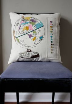 GLOBE~ pillow All the places you have lived could be colored on the pillow globe.