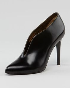 Plunging Vamp Leather Bootie by Lanvin at Neiman Marcus.