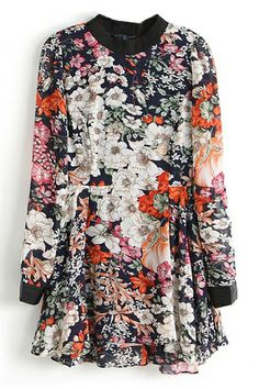 Vinyl Panel Zippered Buttoned Floral Print Dress
