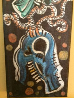 """Painting: 'Two Skulls' 12 x 4"""" ink on canvas (FREE SHIPPING!) by AlabasterandObsidian on Etsy"""