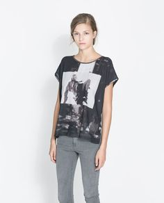 ZARA - NEW THIS WEEK - PRINTED T-SHIRT WITH FAUX LEATHER PIPING