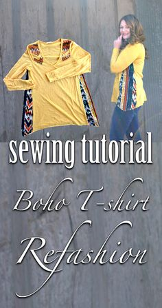 Easy Sewing Tutorial: Add Side Seam Inserts To Create This Lovely Boho Inspired T-shirt Refashion