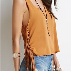 Fringe Muscle Tee Tan color fringe muscle tee. Perfect for summer and festival season! ✌ {NWOT} Forever 21 Tops Muscle Tees