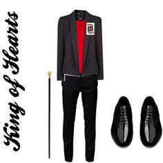 I didn't want to make the King of Hearts costume too detailed. I played it simple and used black jeans with a red undershirt. After I used a black suit jacket to go over with a king of hearts playing card pinned to his jacket. I also added the black dress shoes to make him look formal. Also I added a walking cane to make him look royal.