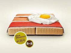 B Hotels: Bacon // Ad from creative German agency Publicis. Bed and breakfast adverts can often be dull and regurgitated in their concepts but this campaign is a feast for the eyes. Creative Advertising, Print Advertising, Advertising Campaign, Print Ads, Advertising Ideas, Product Advertising, Ads Creative, Creative Director, Hotel Advertisement