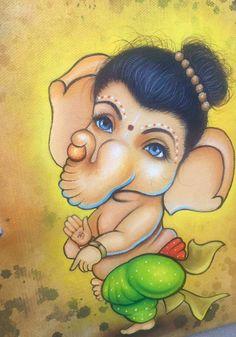 Ganesha Drawing, Lord Ganesha Paintings, Ganesha Art, Krishna Painting, Shri Ganesh Images, Ganesha Pictures, Mural Painting, Mural Art, Minnie Mouse Drawing
