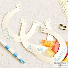 Pick a Trusty Pony: To transform plain old dining chairs into beloved steeds, have each child dream up her horse's name, then use card stock or paper to make a horseshoe nameplate.