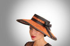 Ascot Hat Orange/Black BY BEAUTY OF HATS #millinery #hats #HatAcademy