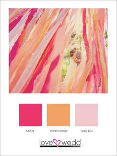 fuschia, orange, pink #color palette #wedding
