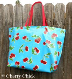 Cherry Oilcloth Market Tote Bag in Aqua Blue  Large by CherryChick