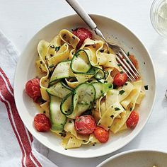 Silky Pappardelle with Zucchini Ribbons | CookingLight.com