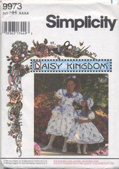 Child's & Girls' Dress,Hat,Purse Sewing Pattern Simplicity Daisy Kingdom 9973 #SimplicityNewLook