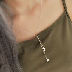 a4bc456db Cheap tassel necklace, Buy Quality pendants for women directly from China  fashion necklace Suppliers: 925 Sterling Silver Star Moon Tassel Necklaces  ...