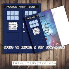 Doctor Who TARDIS Wedding Invitation Set white PRINTABLE DIY