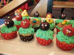 Close up of Angry Bird display. They were a huge hit at the 6 yr. old boy's birthday party! I had to convince the moms that the birds weren't toys, they were cake :)