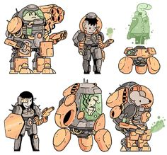 a bunch of new space pals from my twitter. A cyborg heavy, intergalactic adventurer, admiral hologram, veronica the bounty hunter, mobile cl...