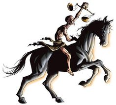 3rd horse of the apocalypse- biblical symbol: Rev 6:6. A starving man wielding a scale that means rationing food and mounted on a black horse symbolizing hunger.