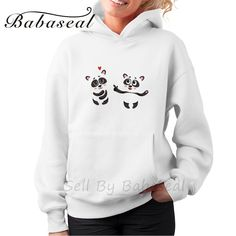 Babaseal Two Baby Panda Characters One Pointing To Another Plus Size Rose Sweatshirt Harajuku Kawaii Matching Couple Hoodies #Affiliate