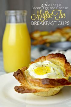 French Delicacies Essentials - Some Uncomplicated Strategies For Newbies These Bacon, Egg And Cheese Muffin Tin Breakfast Cups Are A Simple And Delicious Breakfast That Your Family Will Love Muffin Tin Breakfast, Eggs In Muffin Tin, Muffin Tin Recipes, Breakfast Toast, Egg Recipes, Cooking Recipes, Breakfast Dishes, Sweets Recipes, Cooking Eggs