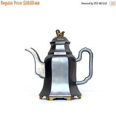 ON SALE Chinese Pewter Teapot Hong Kong 1910 -1920s Antique Pewter & Brass Teapot