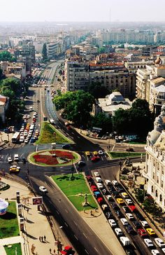 Overhead of University Square n Ic Bratianu Blvd, Bucharest_ Romania