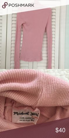 Michael stars shine turtleneck Pristine condition, baby pink, one size fits most  Michael Stars Tops Tees - Long Sleeve