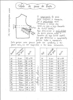 Tabela de comprimento e profundidade do busto e da cintura - Wollige Sachen ! Sewing Tools, Sewing Hacks, Sewing Tutorials, Sewing Patterns Free, Clothing Patterns, Dress Patterns, Costura Diy, Pattern Drafting, Sewing Projects For Beginners
