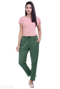 Checkout this latest Women Trousers Product Name: *Trendy Solid Cotton Flex Pant* Fabric: Cotton Flex Size: S- Up To 22 in to 26 in M - Up To 26 in to 30 in L- Up To 30 in to 34 in  XL - Up To 34 in to 38 in  XXL- Up To 38 to 42 in  3XL- Up To 42 in to 46 in Length: Up To 40 in Type: Stitched Description: It Has 1 Piece Of Women's Pant Pattern: Solid Country of Origin: India Easy Returns Available In Case Of Any Issue   Catalog Rating: ★4 (405)  Catalog Name: Stylish Solid Cotton Flex Pants Vol 3 CatalogID_135526 C79-SC1034 Code: 123-1102114-957