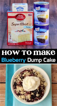 How to Make Blueberry Dump Cake!  Craving a delicious new dessert to try this week?  You're going to love this sweet and delicious blueberry cobbler! Blueberry Dump Cakes, Apple Dump Cakes, Blueberry Cobbler, Easy Cheap Desserts, Easy No Bake Desserts, Popular Recipes, Easy Recipes, Dump Recipes, Cake Mix Recipes