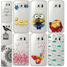 For Samsung Galaxy S6 Edge G9250 Case Minions Butterfly Silicone Back Cover TPU Frame Capa Funda Case For Samsung S6 Edge Plus * Learn more by visiting the image link.
