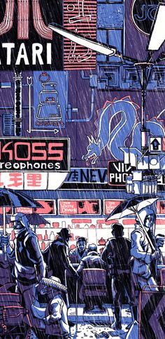 White Dragon Blade Runner Art Print by Tim Doyle Film: Bladerunner Title: 'White Dragon' Designer: Tim Doyle Signed: Hand signed by the artist Format: 4 colour silkscreen print with metalic ink Edition: Limited edition of 280 Size: 12 X 24 inches Arte Cyberpunk, Cyberpunk Aesthetic, Blade Runner Art, Blade Runner Poster, Blade Runner Wallpaper, Blade Runner 2049, Illustration Art, Illustrations, Dragon Print