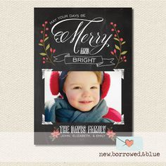 Printable Chalkboard Holiday Card by new, borrowed, & blue