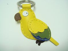 June the Sun Conure Parrot leather keychain  by leatherprince, $22.90