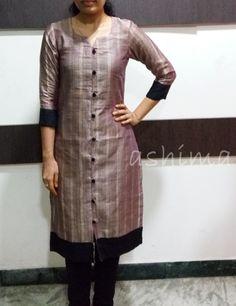Code:1203160-Silk Cotton With Jute Finished Kurta- Price INR:890/-