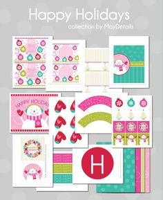 13 Free Printables (2-Inch Circles, Candy Bar Wrapper, Cupcake Wrapper, Decorative Mittens, Welcome Sign, Water Bottle Wrapper or Napkin Ring, Tent Cards, Large Circles, Decorative Pattern #1 , Decorative Pattern #2 , Decorative Pattern #3 , Decorative Pattern #4 , Banner)