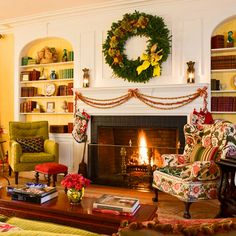 Traditional mantle seasonal wreaths, fireplaces, colors, fireplace surrounds, mantl, garland, traditional homes, holiday mantel, mantel decorations