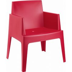Box Resin Stacking Dining Arm Chair (Set of 4)
