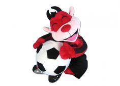 TIF8 PELUCHE ROSSO/NERI  Peluche a forma di diavoletto Forza Rossoneri con palla da calcio in peluche-color rosso nero