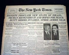"""Historic Newspaper announcing Israel's Statehood, """"ZIONISTS PROCLAIM NEW STATE OF ISRAEL"""":  THE NEW YORK TIMES, May 15, 1948."""