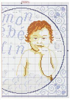 point de croix grille et couleurs de fils bébé cadum, bebe calin 2